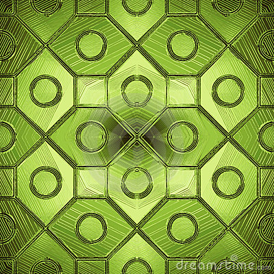 Beautiful pattern on a green glass