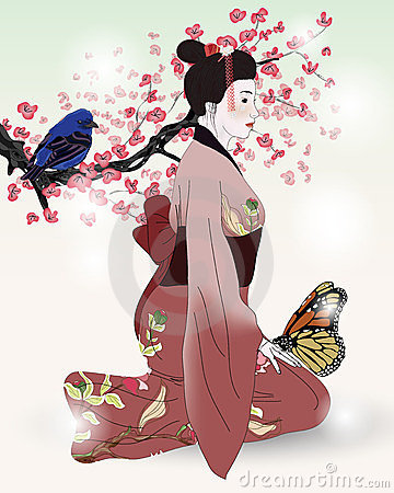 Beautiful picture of a geisha in a blooming garden