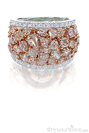 Free Beautiful Pink And White Diamond Ring Duotone With White And Rose Gold Royalty Free Stock Photography - 37273867