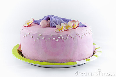 Beautiful pink cake for baby shower party.