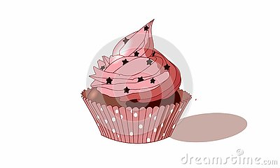 Beautiful pink cupcake with stars and chocolate Vector Illustration