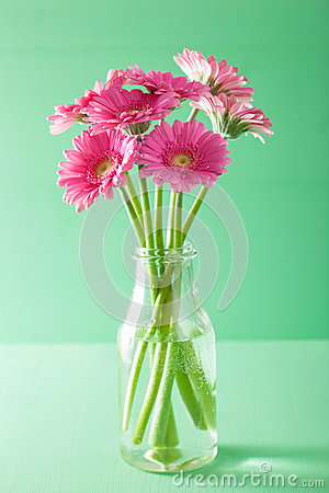 Free Beautiful Pink Gerbera Flowers Bouquet In Vase Royalty Free Stock Photo - 66772425