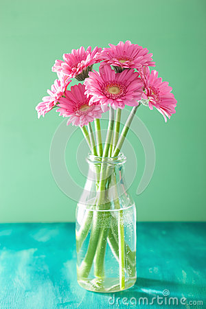 Free Beautiful Pink Gerbera Flowers Bouquet In Vase Royalty Free Stock Images - 67590829