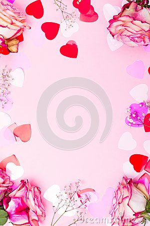 Free Beautiful Pink Rose, Decorative Confetti Hearts And Pink Ribbon On Pink Valentines Day Background Royalty Free Stock Photos - 107132618