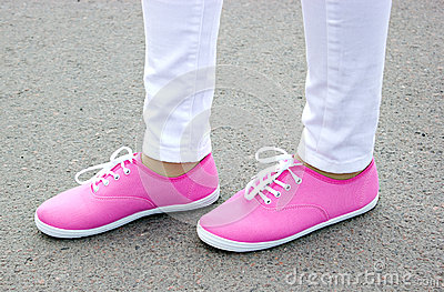 Beautiful pink shoes on the street