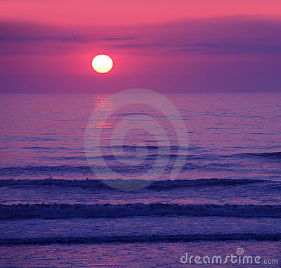 Beautiful pink sunset or sunrise