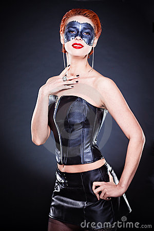 Beautiful Pinup Young Woman in Black Corset