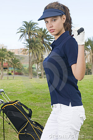 Beautiful player golf with her club