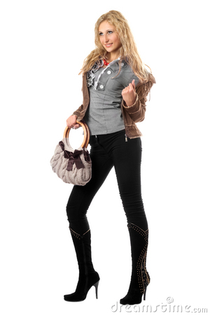 Beautiful playful young blonde with a handbag