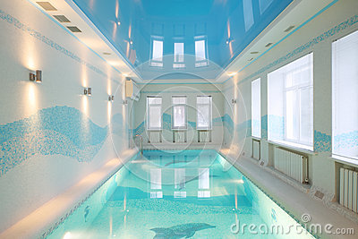 Beautiful pool with images of dolphins at bottom