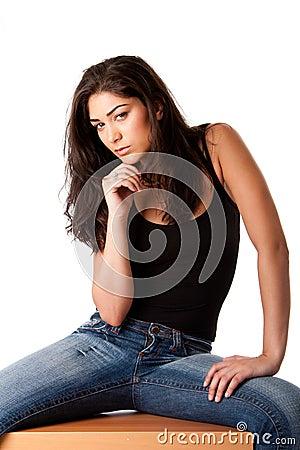 Beautiful posing fashion woman