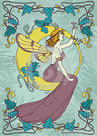 Free Beautiful Poster In Art Nouveau Style With Fairy Woman And Moon And Floral Frame Royalty Free Stock Images - 91953219