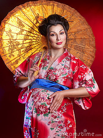 Beautiful pregnant geisha