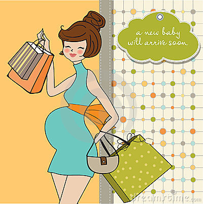 Beautiful pregnant woman on shopping