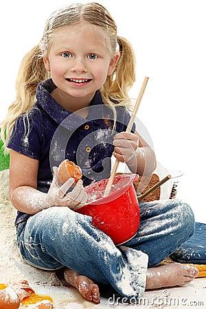 Beautiful Preschool Girl Child Baking Mess