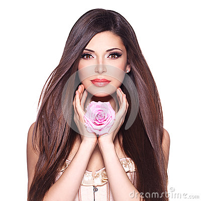 Free Beautiful Pretty Woman With Long Hair And Pink Rose At Face. Royalty Free Stock Photography - 44497187