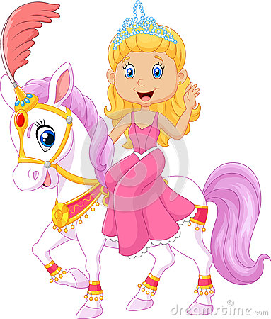 Free Beautiful Princess With Circus Horse Isolated On White Background Stock Photography - 61938812