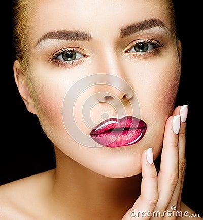 Free Beautiful Professional Makeup. Pink Lips And Smoky Eyes Make Up. Royalty Free Stock Image - 68836406