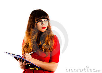 Beautiful professional young woman wearing glasses