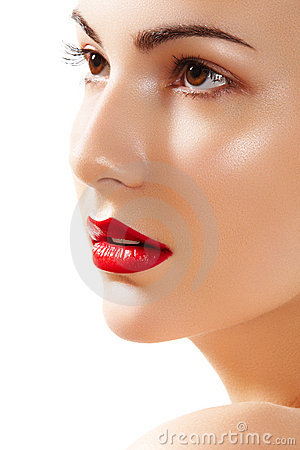 Beautiful pure model face with bright lips make-up