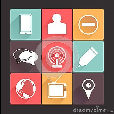 Beautiful, pure new media icon set. Simple, flat square shape internet buttons on dark background.