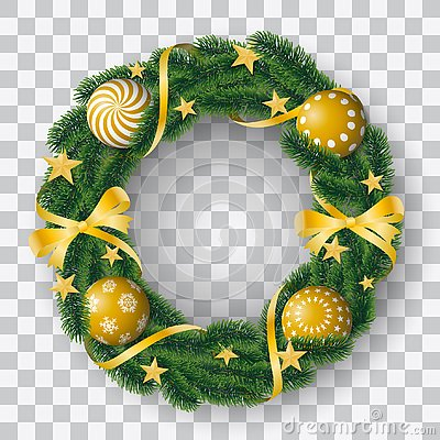 Free Beautiful Realistic Vector Of Coniferous Wreath With Golden Bulbs And Decorated With Ribbons And Stars On Transparent Background Stock Photos - 130905933