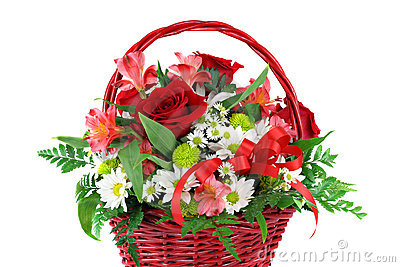 Beautiful Red Basket Flower Arrangement