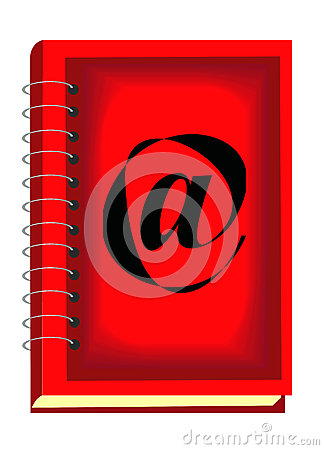 Beautiful red book with internet symbol