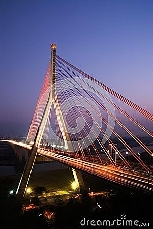 Beautiful red bridge of city night