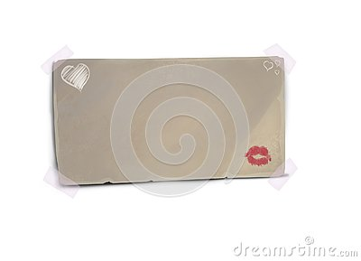 Beautiful Red color lip on paper, Kiss by Red lip print Stock Photo