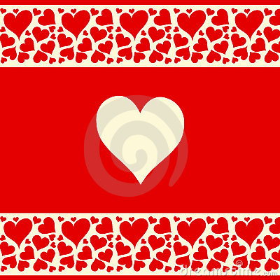 Beautiful red and creamy background with love hear