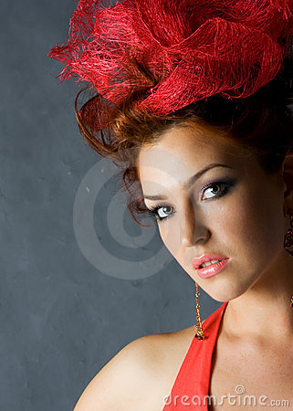 Beautiful red fashion model