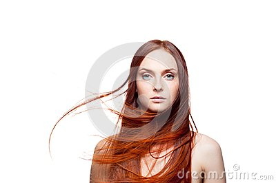 Beautiful red haired with windy hair