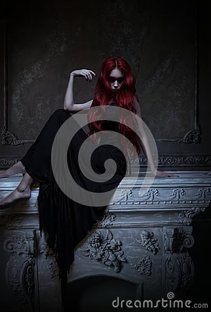 Free Beautiful Red Haired Woman In Black Dress Stock Images - 105406854