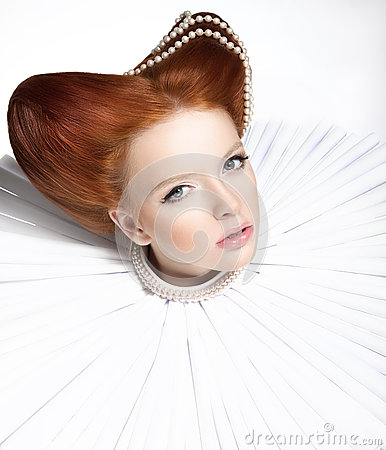 Free Beautiful Red Head Duchess In Jabot - Retro Style. Dramatic Theatrical Makeup. Masquerade Royalty Free Stock Photo - 28484365