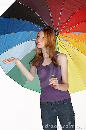 Beautiful Red Head Woman with Rainbow Umbrella