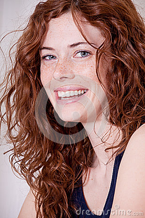 Free Beautiful Red Head Woman With Freckle Smiling Royalty Free Stock Photo - 27480125