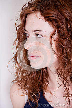 Free Beautiful Red Head Woman With Freckle Smiling Stock Image - 27480301