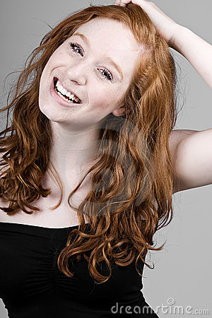 Beautiful Red Headed Girl Smiling