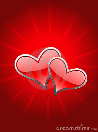 Beautiful red heart in glow background