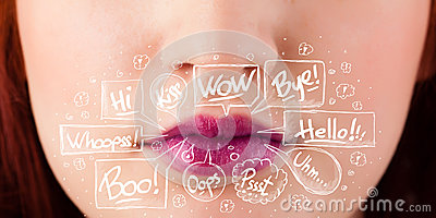 Beautiful red lips with white speech bubbles Stock Photo