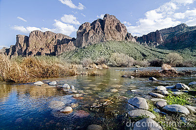 Beautiful red mountain and stream in Arizona