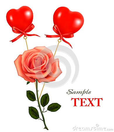 Beautiful Red Rose With A Bow. Vector Royalty Free Stock Images - Image: 17590669