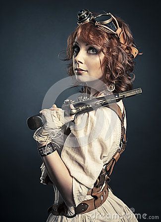 Free Beautiful Redhair Steampunk Girl With Gun Stock Photography - 48903472