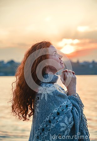 Free Beautiful Redhaired Girl At Sunset. Stock Photo - 131275490
