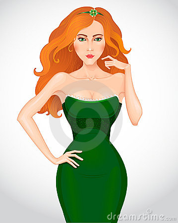 Beautiful redhaired woman in green dress. Vector
