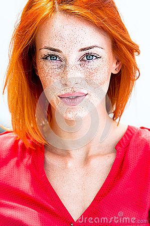 Free Beautiful Redhead Freckled Woman Smiling Seductive, Biting Lips Stock Image - 67608701