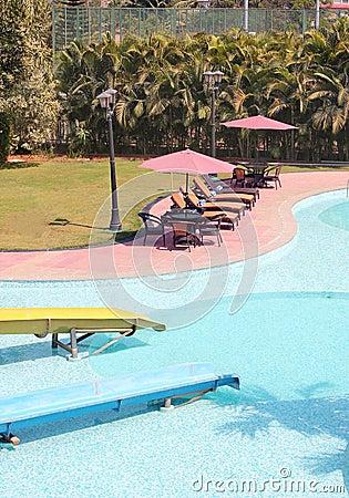 Beautiful resort swimming pool with clean water