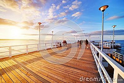 Beautiful retro pier at sunset. Gdansk Brzezno, Poland