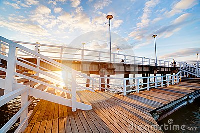Beautiful retro pier at sunset. Gdansk Brzezno, Poland